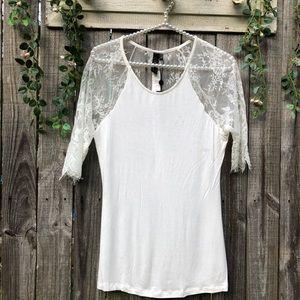 Delicate Lacy White Blouse M